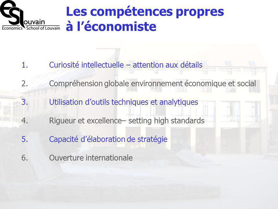 Les compétences propres à léconomiste 1. Curiosité intellectuelle – attention aux détails 2. Compréhension globale environnement économique et social