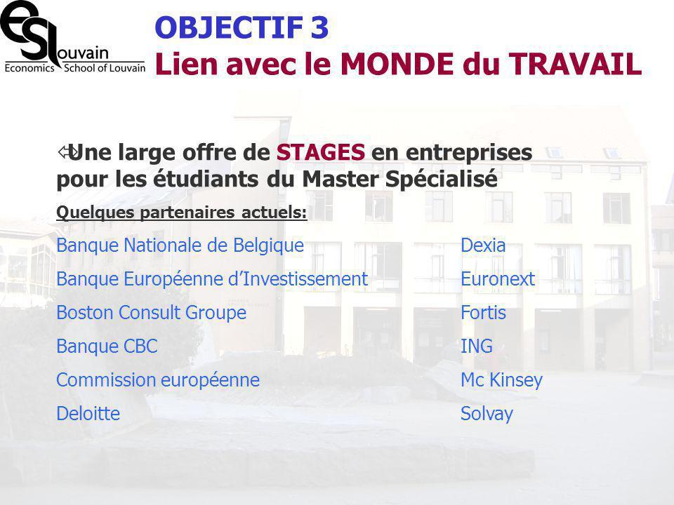OBJECTIF 3 Lien avec le MONDE du TRAVAIL Une large offre de STAGES en entreprises pour les étudiants du Master Spécialisé Quelques partenaires actuels