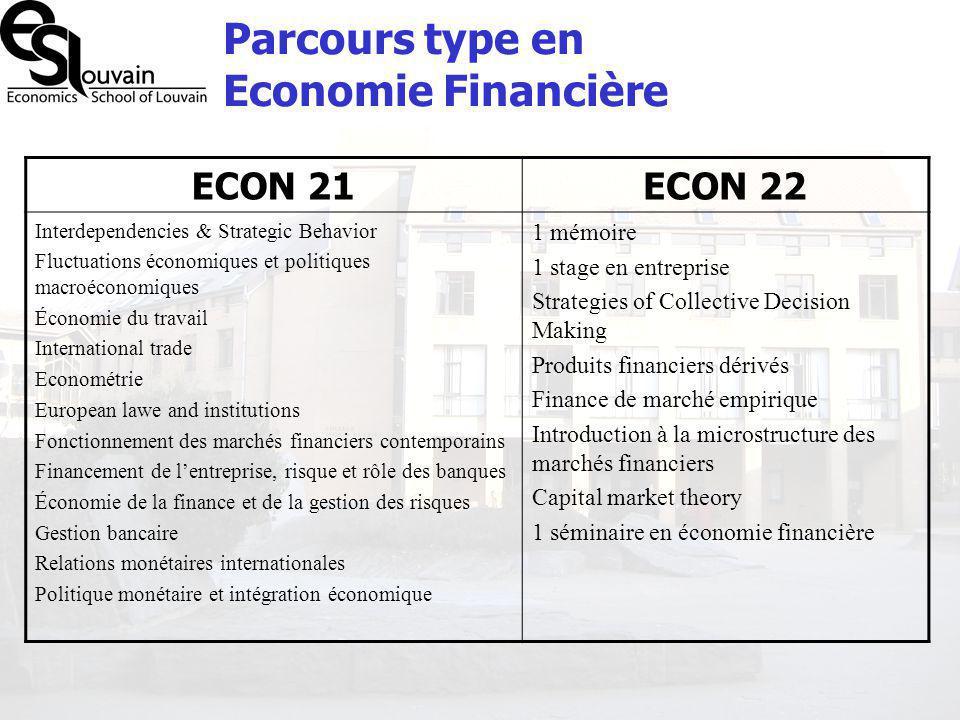 Parcours type en Economie Financière ECON 21ECON 22 Interdependencies & Strategic Behavior Fluctuations économiques et politiques macroéconomiques Éco