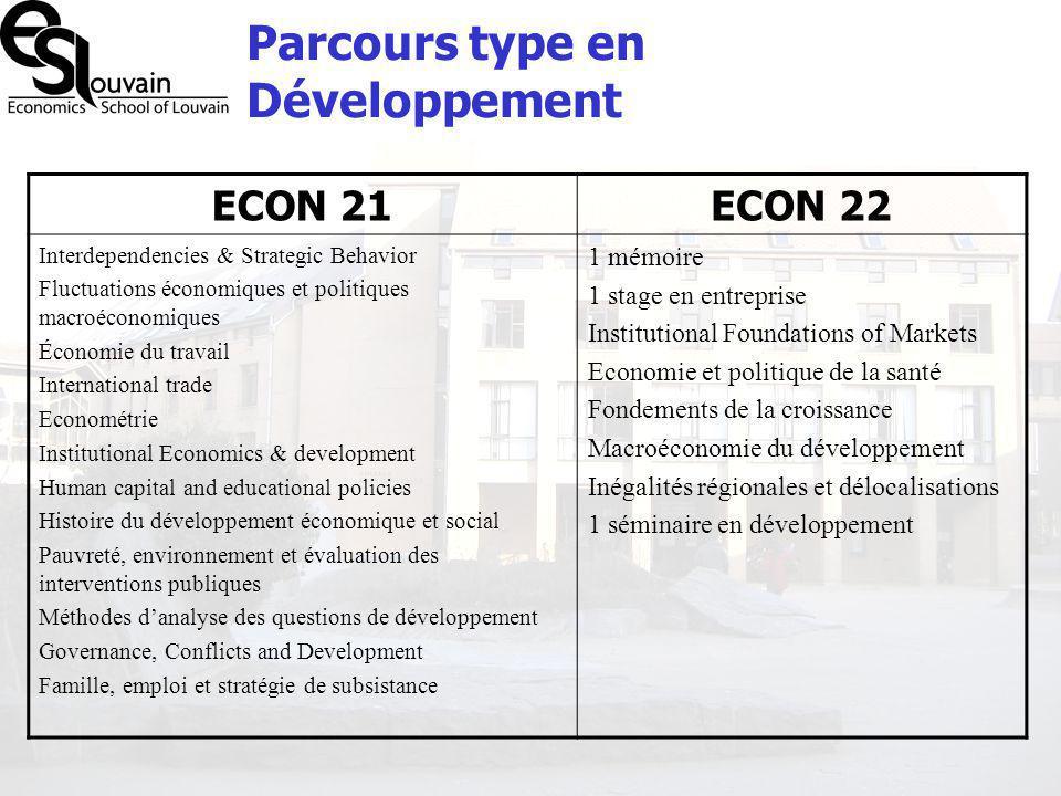 Parcours type en Développement ECON 21ECON 22 Interdependencies & Strategic Behavior Fluctuations économiques et politiques macroéconomiques Économie