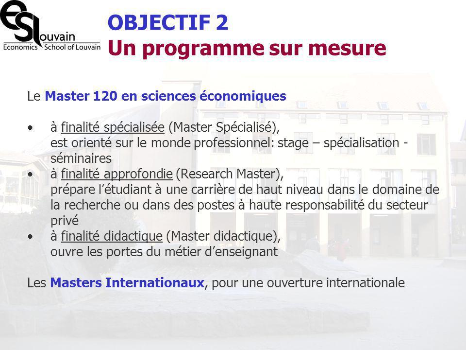 Le Master 120 en sciences économiques à finalité spécialisée (Master Spécialisé), est orienté sur le monde professionnel: stage – spécialisation - sém