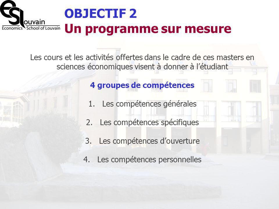 Les cours et les activités offertes dans le cadre de ces masters en sciences économiques visent à donner à létudiant 4 groupes de compétences 1.Les co