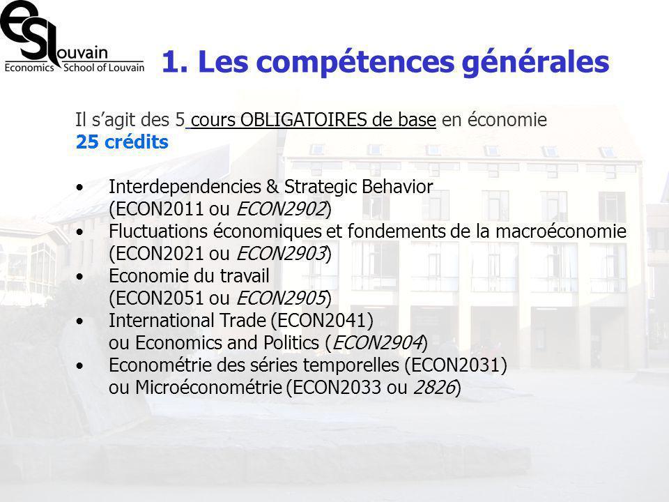 1. Les compétences générales Il sagit des 5 cours OBLIGATOIRES de base en économie 25 crédits Interdependencies & Strategic Behavior (ECON2011 ou ECON