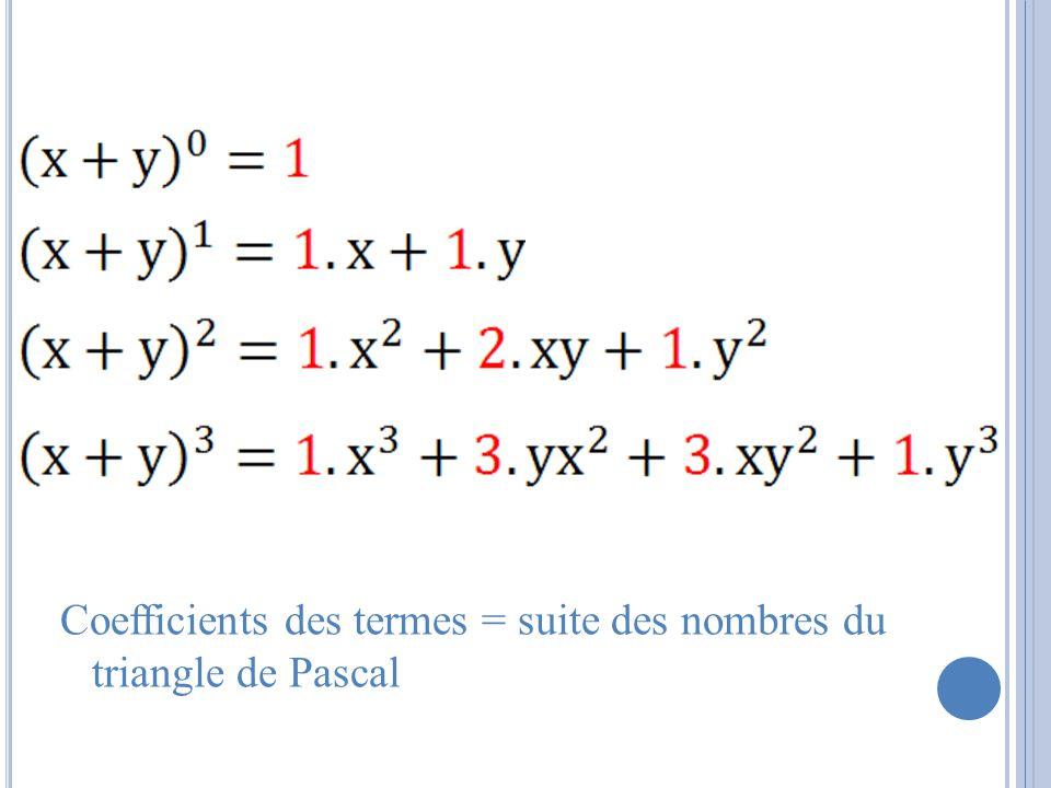 Coefficients des termes = suite des nombres du triangle de Pascal