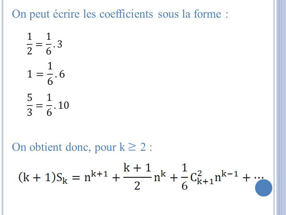 On peut écrire les coefficients sous la forme : On obtient donc, pour k 2 :