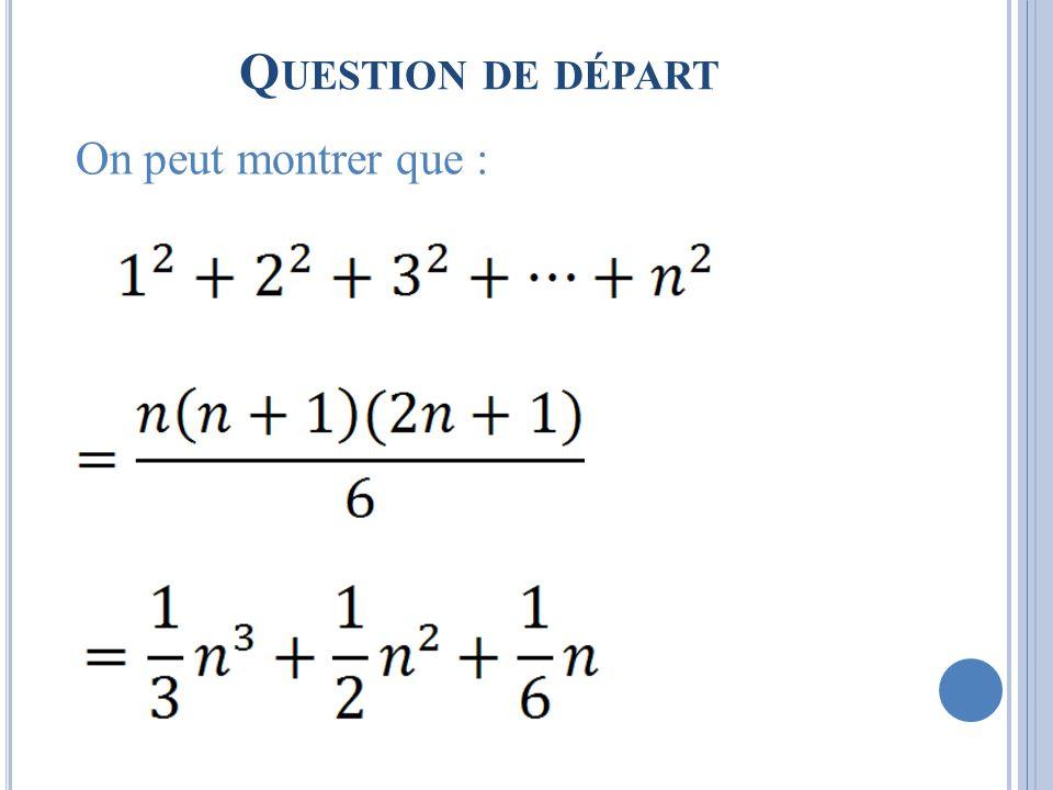 Q UESTION DE DÉPART On peut montrer que :