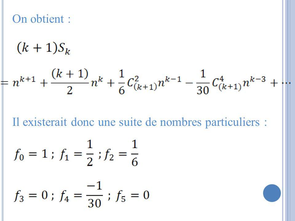 On obtient : Il existerait donc une suite de nombres particuliers :