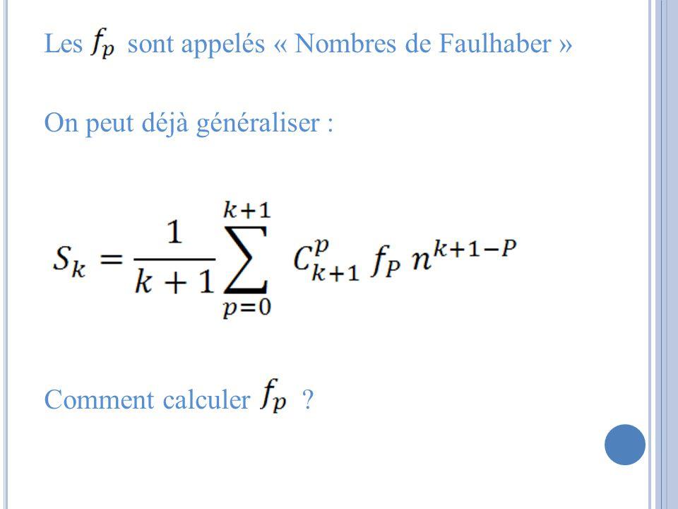 Les sont appelés « Nombres de Faulhaber » On peut déjà généraliser : Comment calculer ?