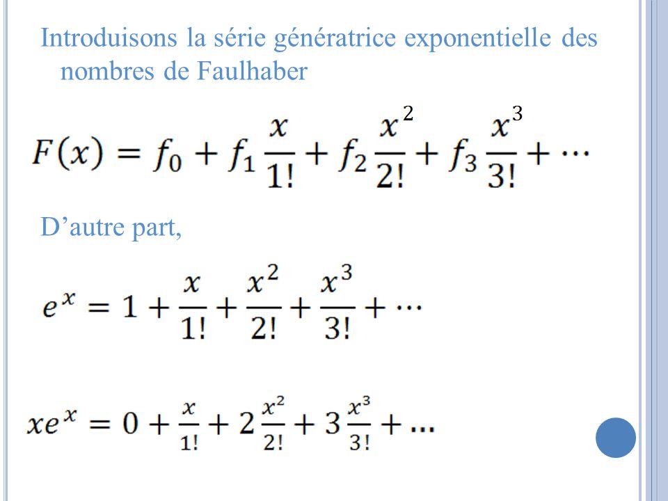 Introduisons la série génératrice exponentielle des nombres de Faulhaber Dautre part,