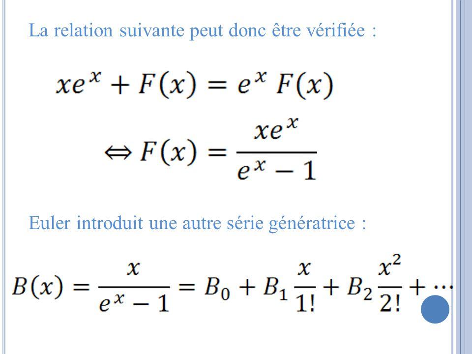 La relation suivante peut donc être vérifiée : Euler introduit une autre série génératrice :