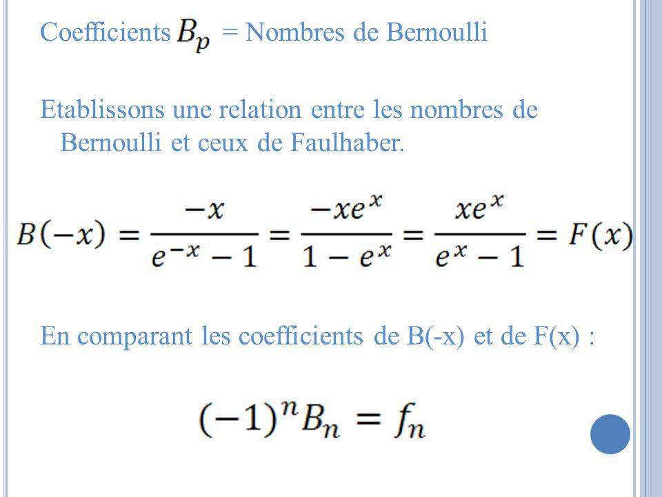 Coefficients = Nombres de Bernoulli Etablissons une relation entre les nombres de Bernoulli et ceux de Faulhaber. En comparant les coefficients de B(-