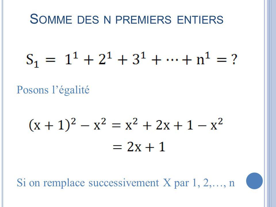 S OMME DES N PREMIERS ENTIERS Posons légalité Si on remplace successivement X par 1, 2,…, n