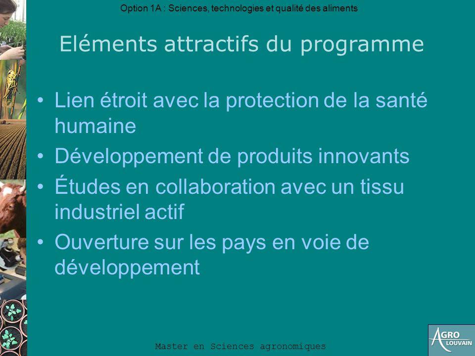 Option 1A : Sciences, technologies et qualité des aliments Master en Sciences agronomiques Eléments attractifs du programme Lien étroit avec la protec