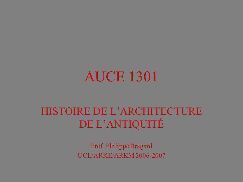 AUCE 1301 HISTOIRE DE LARCHITECTURE DE LANTIQUITÉ Prof. Philippe Bragard UCL/ARKE/ARKM 2006-2007