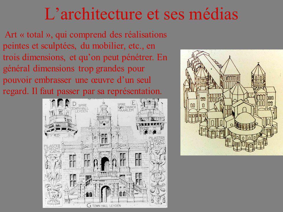 Larchitecture et ses médias Art « total », qui comprend des réalisations peintes et sculptées, du mobilier, etc., en trois dimensions, et quon peut pé