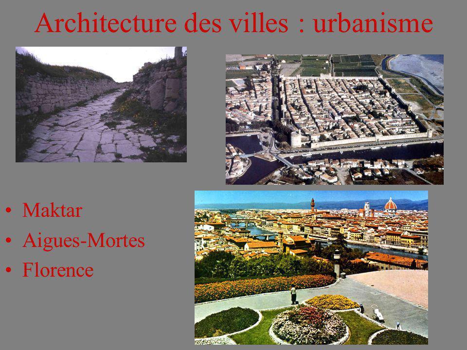 Architecture des villes : urbanisme Maktar Aigues-Mortes Florence