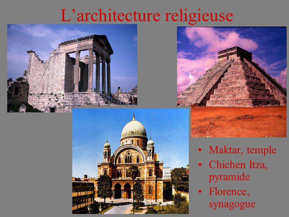 Larchitecture religieuse Maktar, temple Chichen Itza, pyramide Florence, synagogue