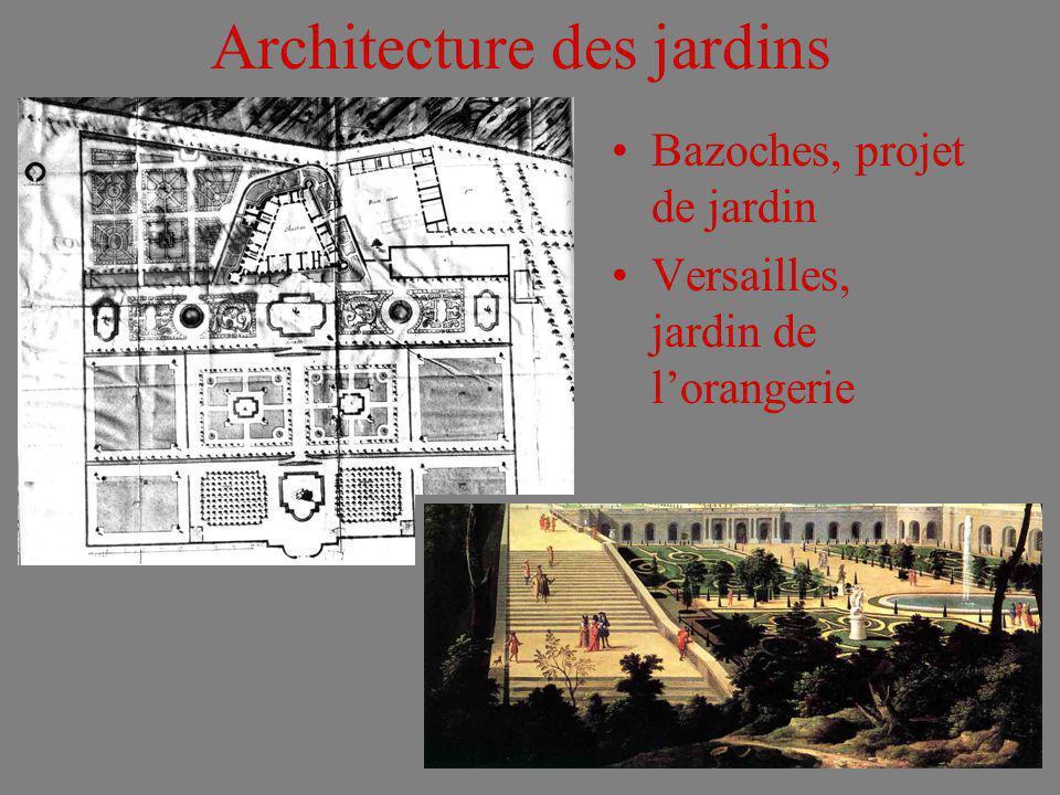 Architecture des jardins Bazoches, projet de jardin Versailles, jardin de lorangerie