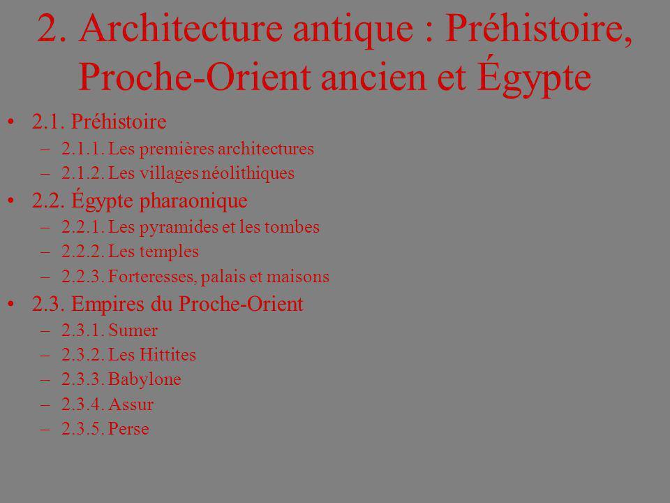 2. Architecture antique : Préhistoire, Proche-Orient ancien et Égypte 2.1. Préhistoire –2.1.1. Les premières architectures –2.1.2. Les villages néolit