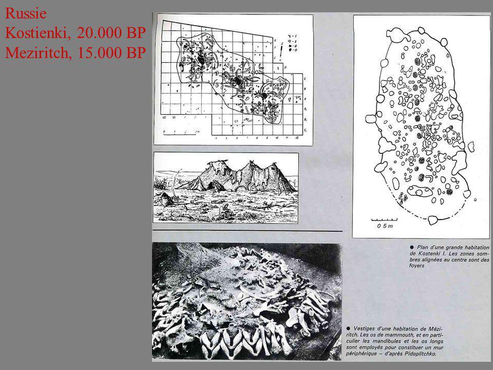 Russie Kostienki, 20.000 BP Meziritch, 15.000 BP