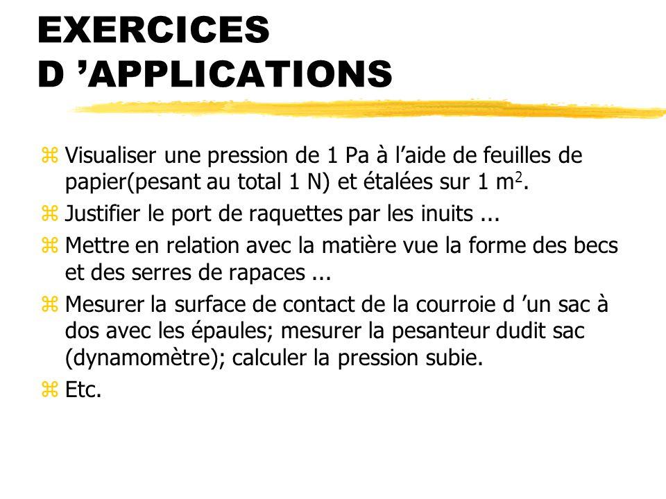 EXERCICES D APPLICATIONS zVisualiser une pression de 1 Pa à laide de feuilles de papier(pesant au total 1 N) et étalées sur 1 m 2.