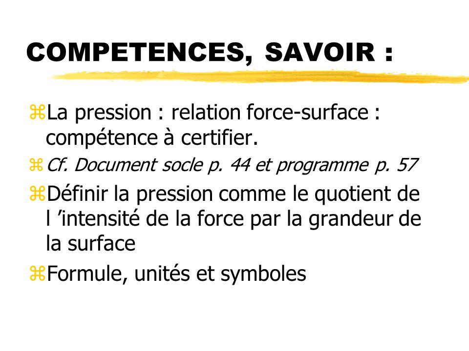 COMPETENCES, SAVOIR : zLa pression : relation force-surface : compétence à certifier.