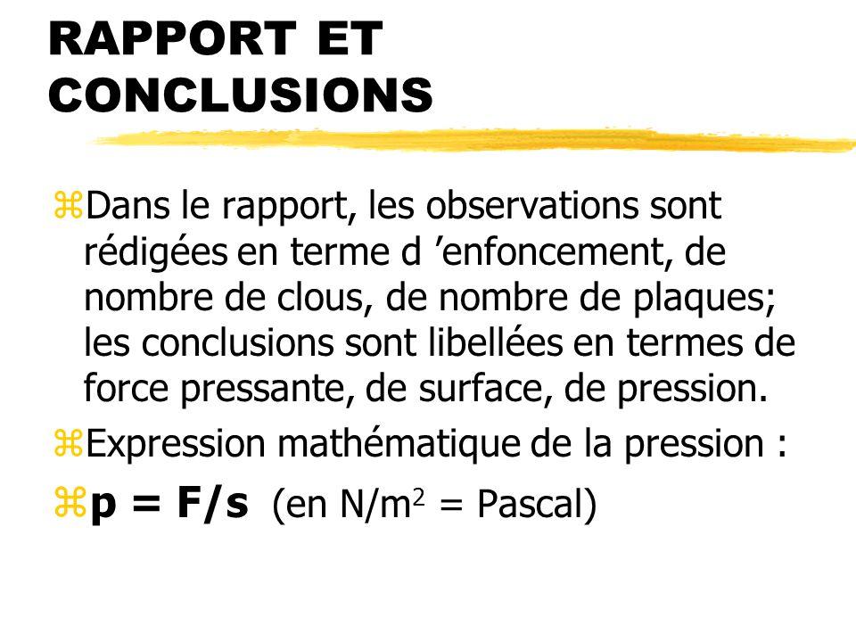 RAPPORT ET CONCLUSIONS zDans le rapport, les observations sont rédigées en terme d enfoncement, de nombre de clous, de nombre de plaques; les conclusions sont libellées en termes de force pressante, de surface, de pression.