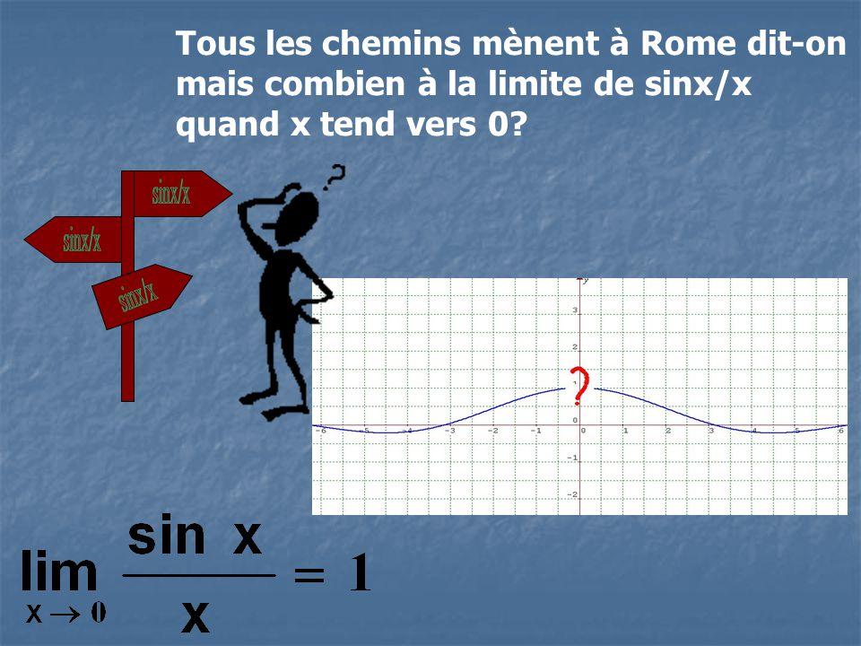 Tous les chemins mènent à Rome dit-on mais combien à la limite de sinx/x quand x tend vers 0?