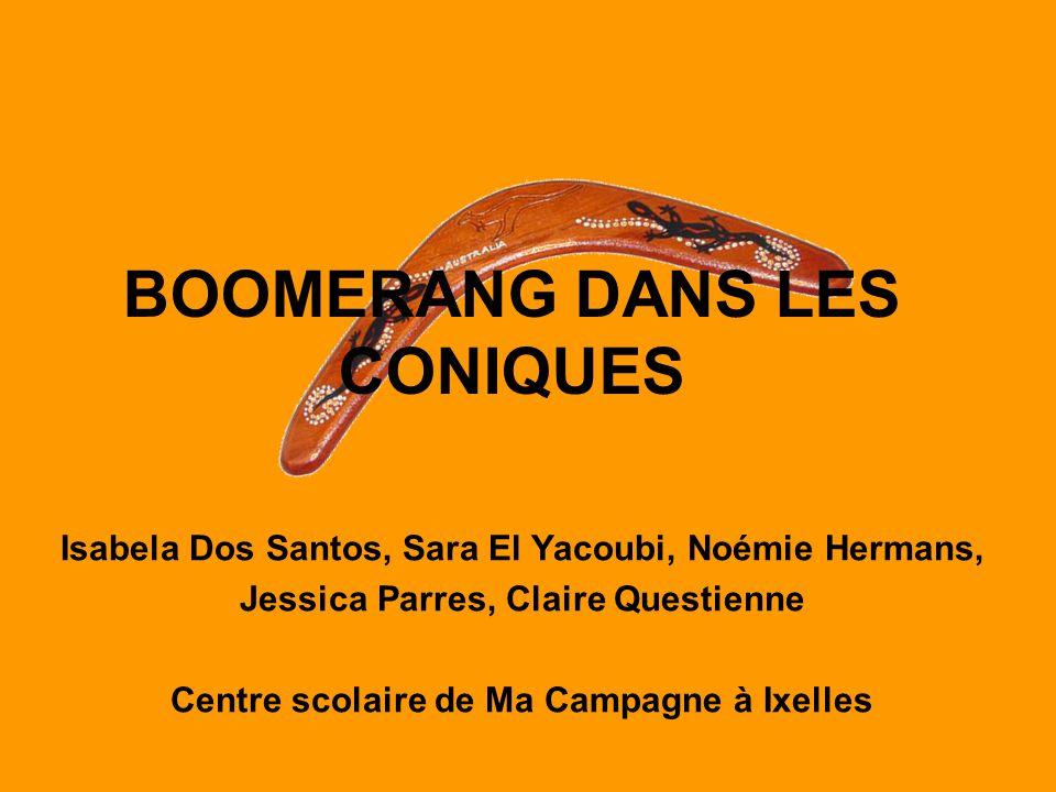 BOOMERANG DANS LES CONIQUES Isabela Dos Santos, Sara El Yacoubi, Noémie Hermans, Jessica Parres, Claire Questienne Centre scolaire de Ma Campagne à Ix