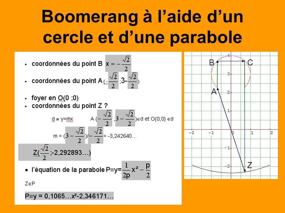 Boomerang à laide dun cercle et dune parabole A BC Z
