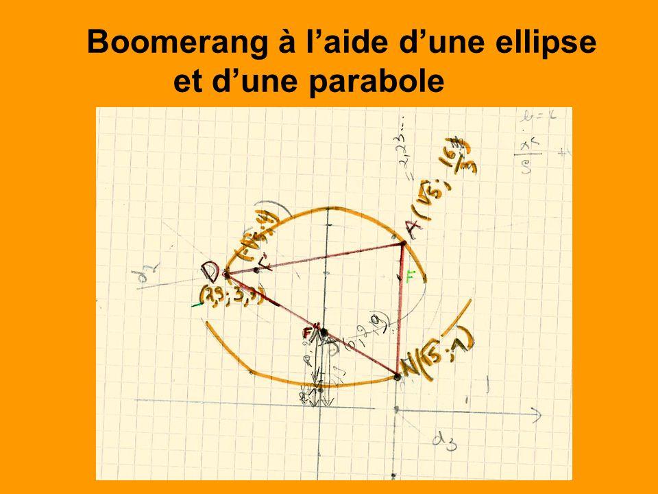 Boomerang à laide dune ellipse et dune parabole