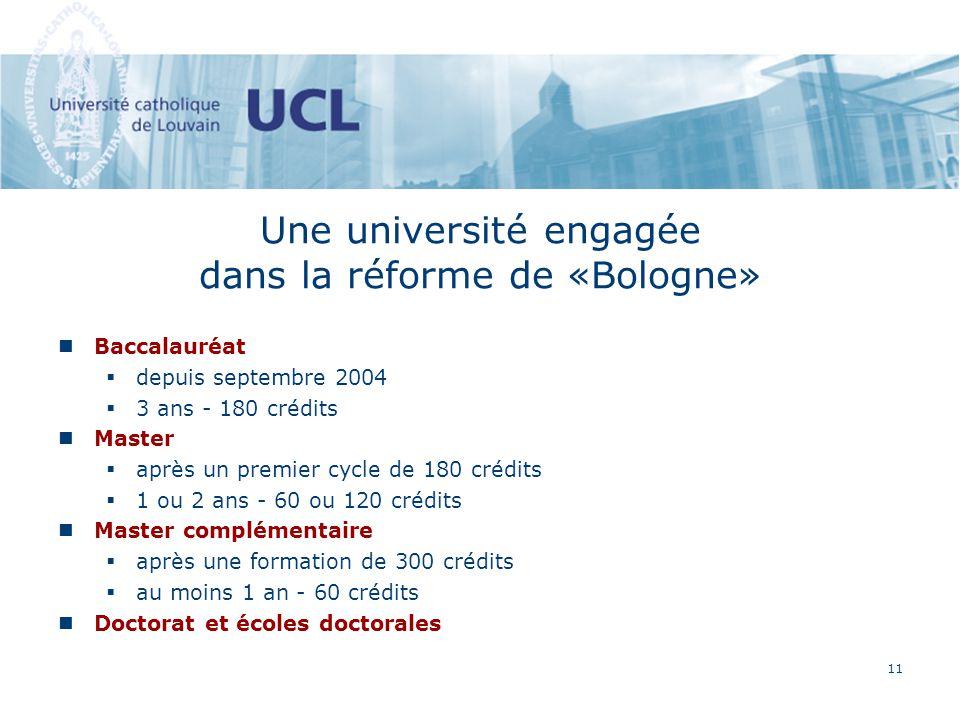11 Une université engagée dans la réforme de «Bologne» Baccalauréat depuis septembre 2004 3 ans - 180 crédits Master après un premier cycle de 180 crédits 1 ou 2 ans - 60 ou 120 crédits Master complémentaire après une formation de 300 crédits au moins 1 an - 60 crédits Doctorat et écoles doctorales