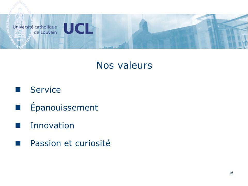 16 Nos valeurs Service Épanouissement Innovation Passion et curiosité