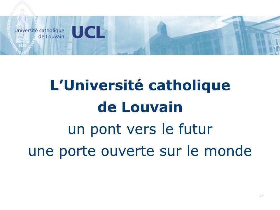 17 LUniversité catholique de Louvain un pont vers le futur une porte ouverte sur le monde