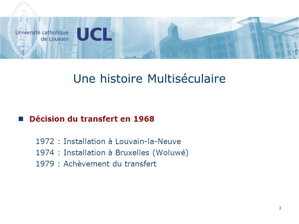 3 Une histoire Multiséculaire de luniversité par un incendi Décision du transfert en 1968 1972 : Installation à Louvain-la-Neuve 1974 : Installation à Bruxelles (Woluwé) 1979 : Achèvement du transfert