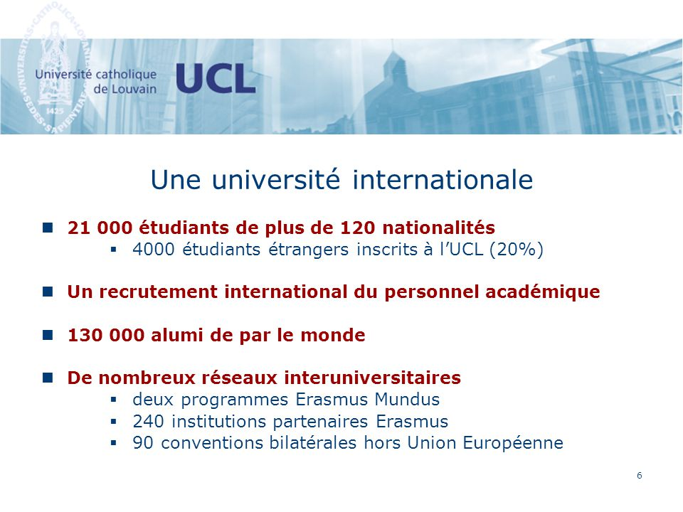 6 Une université internationale 21 000 étudiants de plus de 120 nationalités 4000 étudiants étrangers inscrits à lUCL (20%) Un recrutement internation