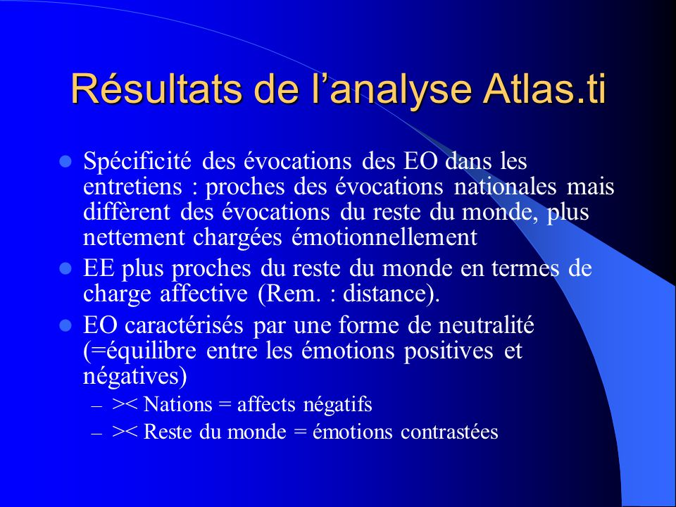 Tableau 5 : Emotions positives et négatives PaysEmotions positives Emotions négatives Total% émotions positives Nation Belgique France 64 29 35 99 45 54 163 74 89 39 Europe France (mobilisée par les B.) Pays dEurope de lOuest Pays dEurope de lEst 99 21 55 23 108 25 55 28 207 46 110 51 48 46 50 45 Reste du monde Pays dAfrique Pays dAsie Etats-Unis Autres (dont Russie) 62 25 13 15 9 121 11 37 61 12 183 36 50 76 21 34 69 26 19 43 Total22432855240