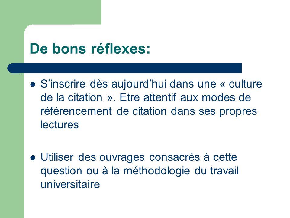 De bons réflexes: Sinscrire dès aujourdhui dans une « culture de la citation ». Etre attentif aux modes de référencement de citation dans ses propres