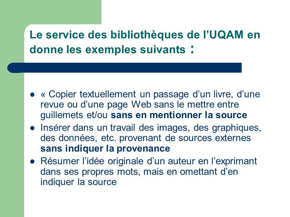 Le service des bibliothèques de lUQAM en donne les exemples suivants : « Copier textuellement un passage dun livre, dune revue ou dune page Web sans l