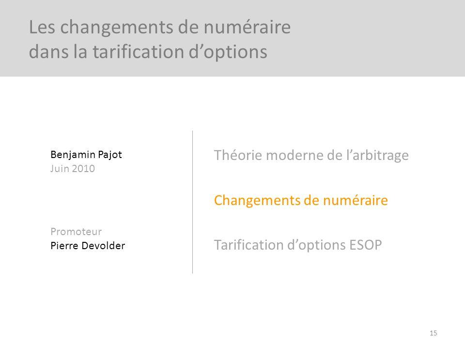 Théorie moderne de larbitrage Changements de numéraire Tarification doptions ESOP 15 Les changements de numéraire dans la tarification doptions Benjam