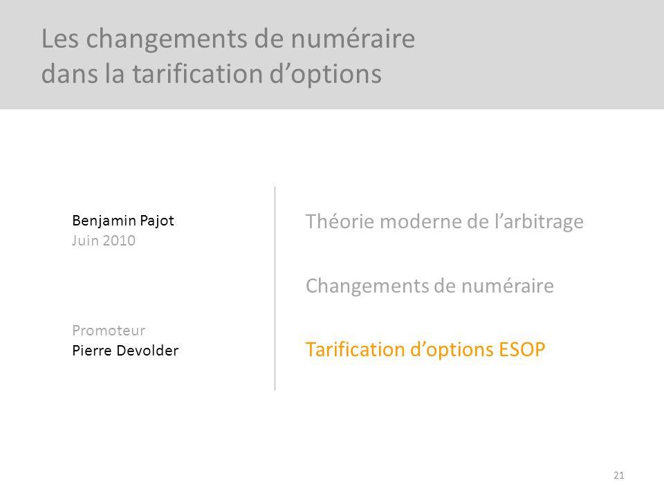 Théorie moderne de larbitrage Changements de numéraire Tarification doptions ESOP 21 Les changements de numéraire dans la tarification doptions Benjam