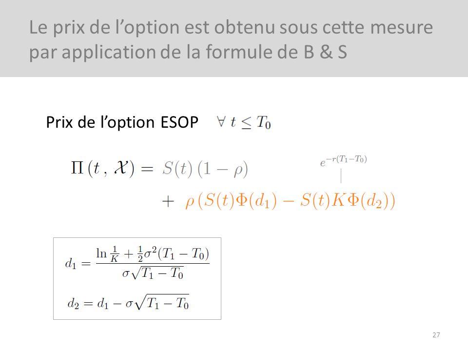 Prix de loption ESOP 27 Le prix de loption est obtenu sous cette mesure par application de la formule de B & S