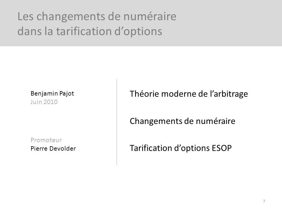 Théorie moderne de larbitrage Changements de numéraire Tarification doptions ESOP 7 Les changements de numéraire dans la tarification doptions Benjami