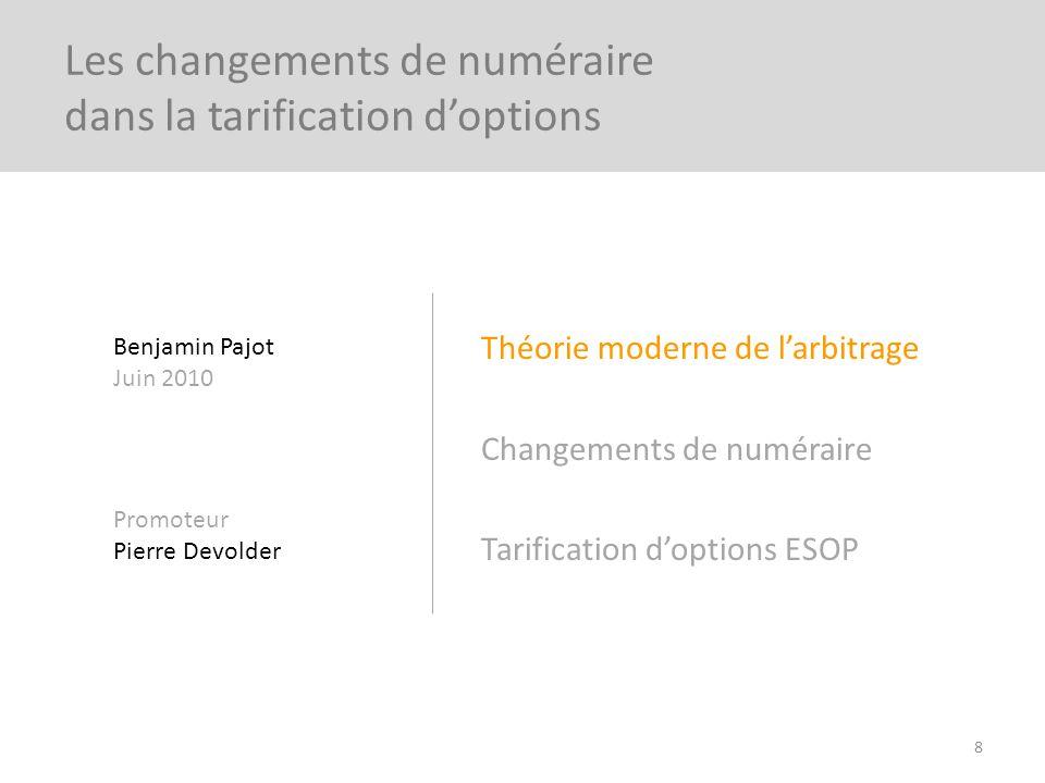 Théorie moderne de larbitrage Changements de numéraire Tarification doptions ESOP 8 Les changements de numéraire dans la tarification doptions Benjami