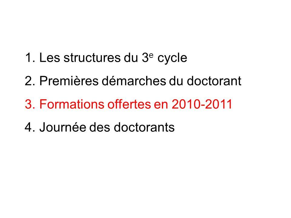 1. Les structures du 3 e cycle 2. Premières démarches du doctorant 3. Formations offertes en 2010-2011 4. Journée des doctorants