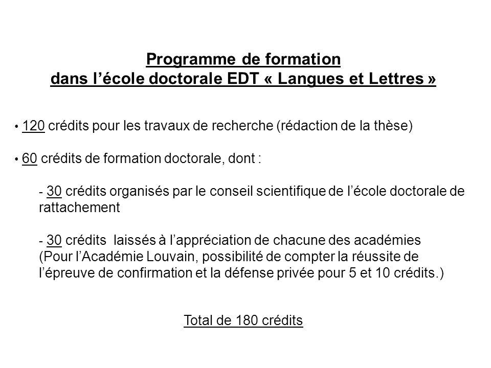 Programme de formation dans lécole doctorale EDT « Langues et Lettres » 120 crédits pour les travaux de recherche (rédaction de la thèse) 60 crédits d