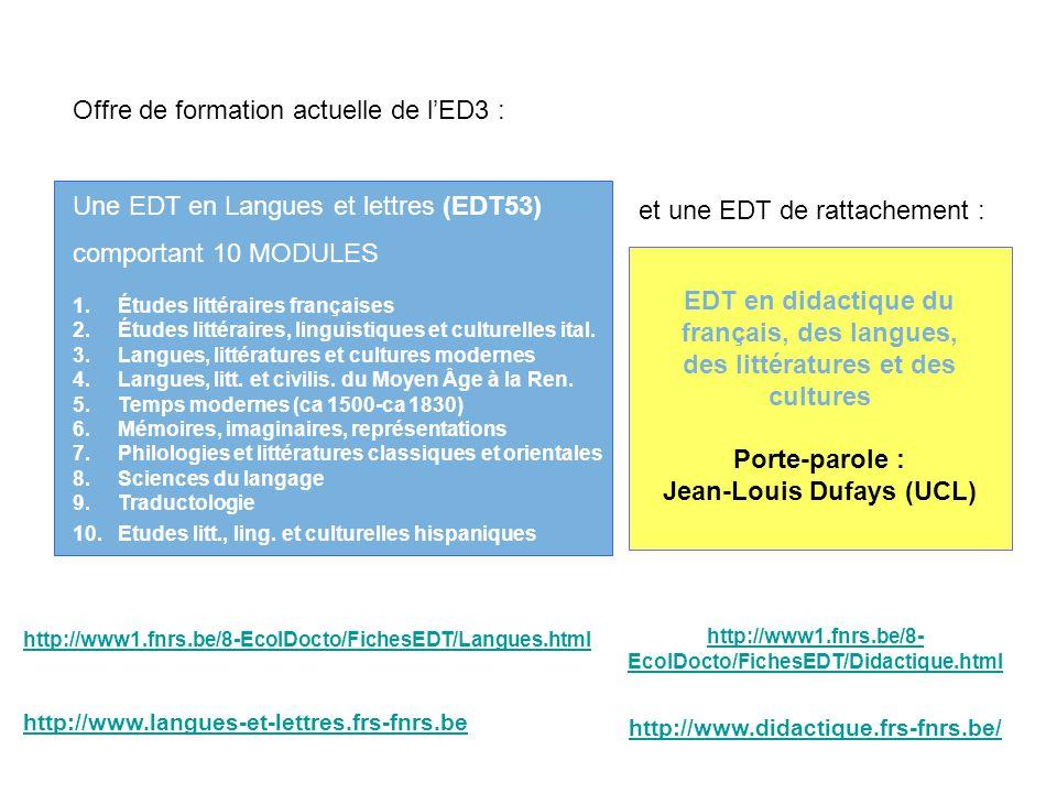 Offre de formation actuelle de lED3 : Une EDT en Langues et lettres (EDT53) comportant 10 MODULES 1. Études littéraires françaises 2. Études littérair