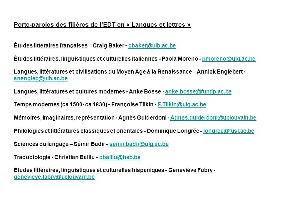 Porte-paroles des filières de lEDT en « Langues et lettres » Études littéraires françaises – Craig Baker - cbaker@ulb.ac.becbaker@ulb.ac.be Études lit