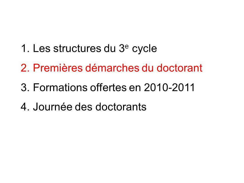 Choix de lED et du programme 1.Le programme du doctorant se fait à la carte, parmi les formations proposées.
