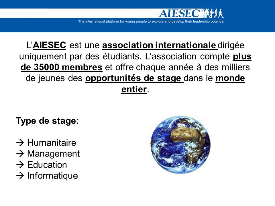 LAIESEC est une association internationale dirigée uniquement par des étudiants. Lassociation compte plus de 35000 membres et offre chaque année à des